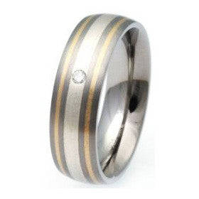 Unique Titanium & Gold Ring Tr-51