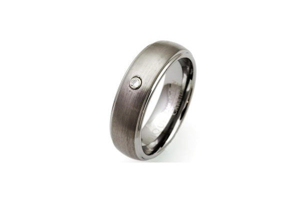 Unique Tungsten Carbide Matt-Polished Ring Tur-16 Cubic Zirconia