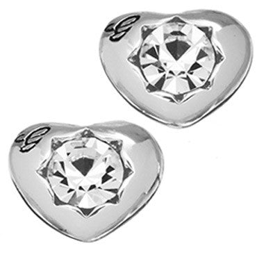 Guess Ladies Crystals Of Love Earrings Rhodium Plated