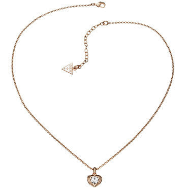 Guess Ladies Crystals Of Love Heart pendant in Rose