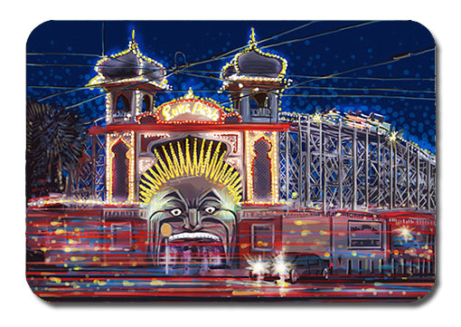 Postcard - Melbourne Luna Park by night