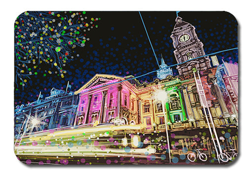Postcard - Melbourne Town Hall by night