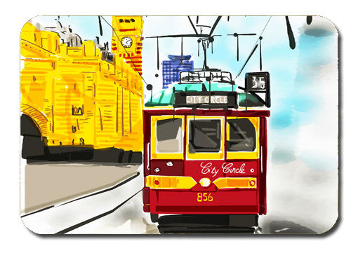 Postcard - Melbourne Tram Red