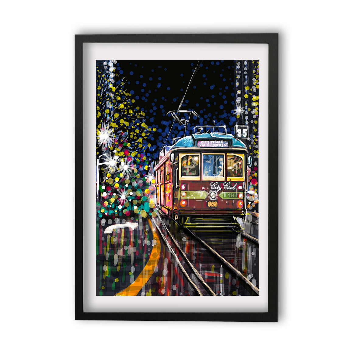 Print (Iconic) - Melbourne Tram Red Night