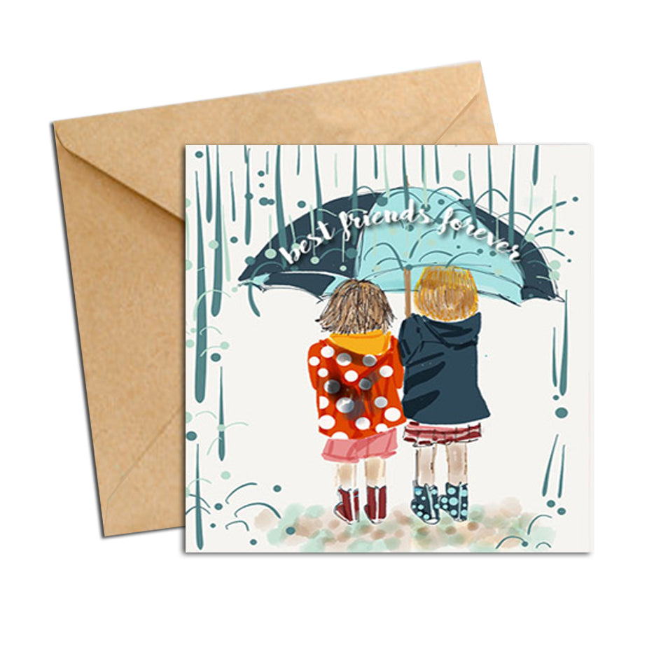 Card - Friends Forever - Girls in the rain