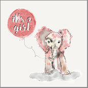 Small Cards (Pack of 10) - Baby Girl Elephant Pink