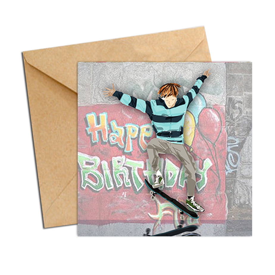 Card - Birthday Boy Skateboarder