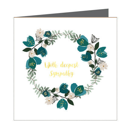 Card - Sympathy - Ring of Teal Blooms