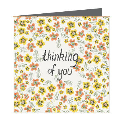 Card - Thinking of you - Yellow and Orange Blooms