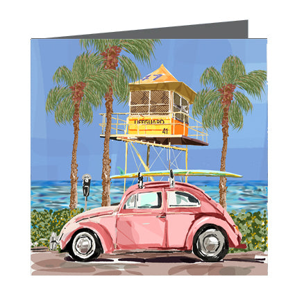 Card - Iconic Coastal - Surf life tower with buggy