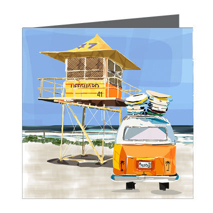 Card - Iconic Coastal - Surf life tower with combi