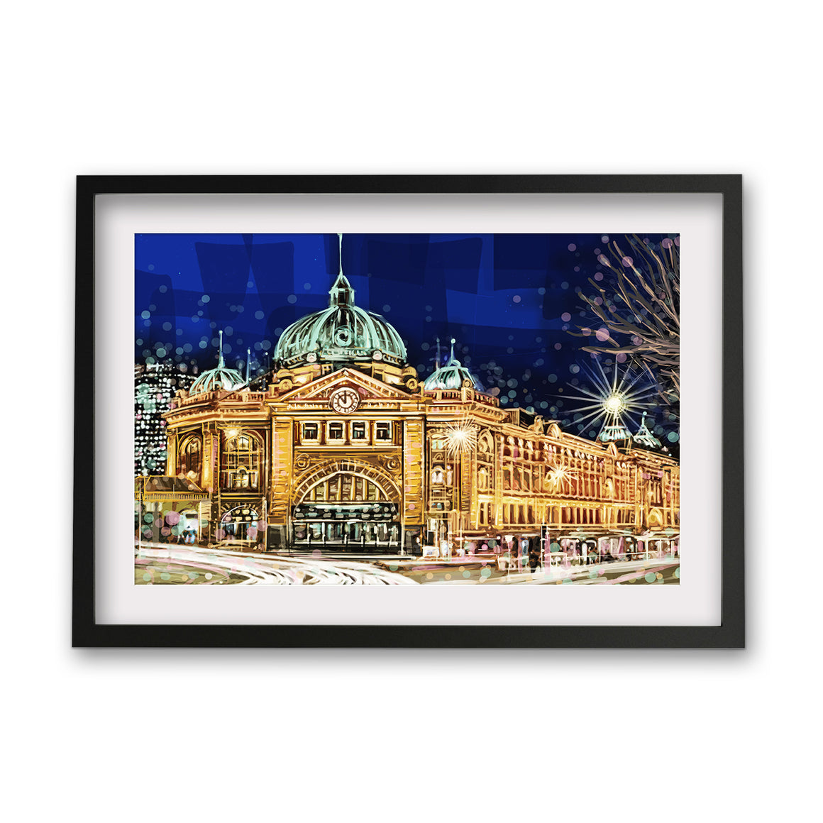 Print (Iconic) - Melbourne Flinders St Station Front night(Landscape)