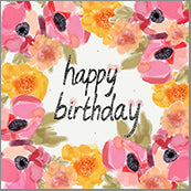 Small Cards (Pack of 10) - Happy Birthday Blooms Pink and Orange