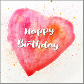 Small Cards (Pack of 10) - Happy Birthday Heart Blood Orange