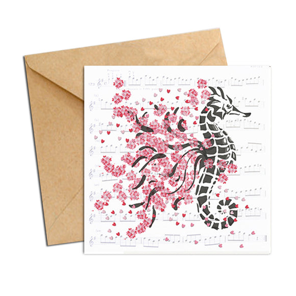 Card - Heart Confetti  Sea Horse