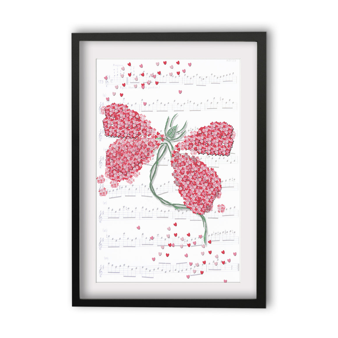Print Heart Confetti Dragon Fly