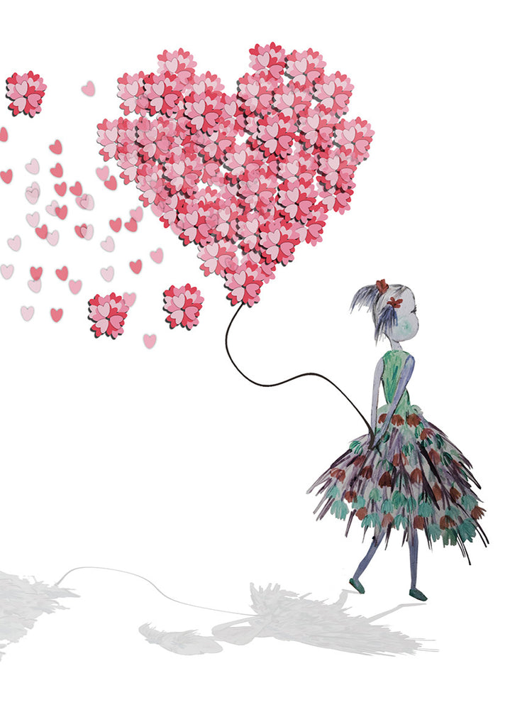 Print Heart Confetti Girl with Balloon