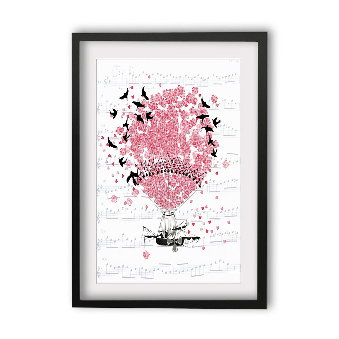 Print Heart Confetti Hot Air Balloon