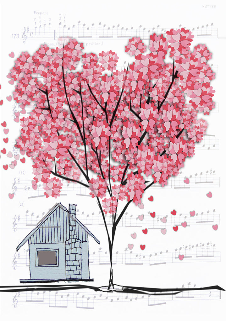 Print Heart Confetti House with Tree