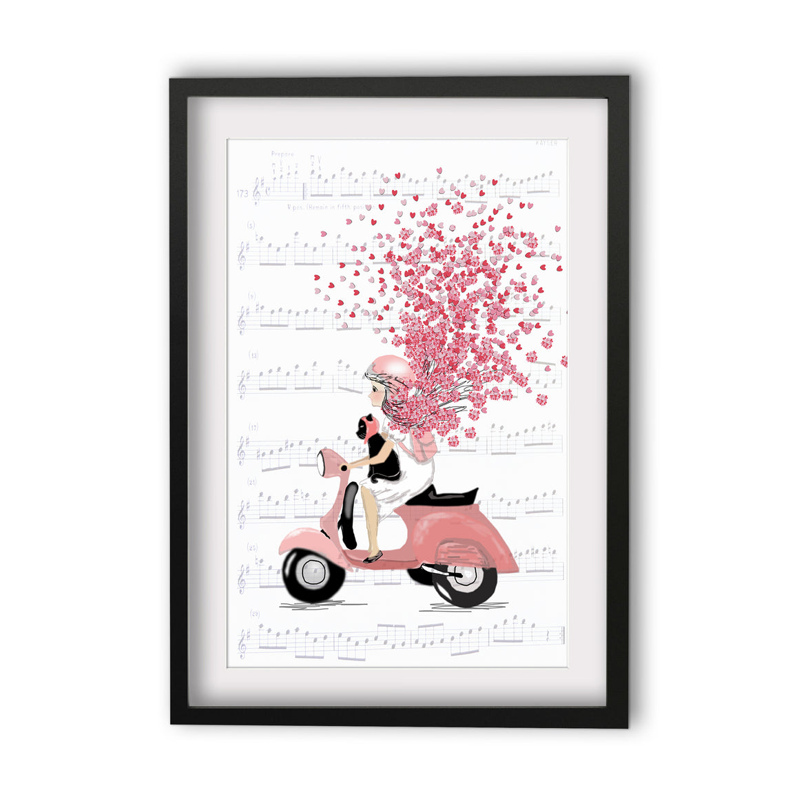 Print Heart Confetti Girl on Moped