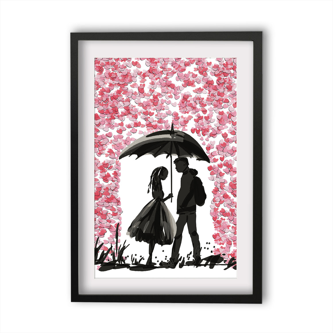 Print Heart Confetti Girl and Boy in Rain