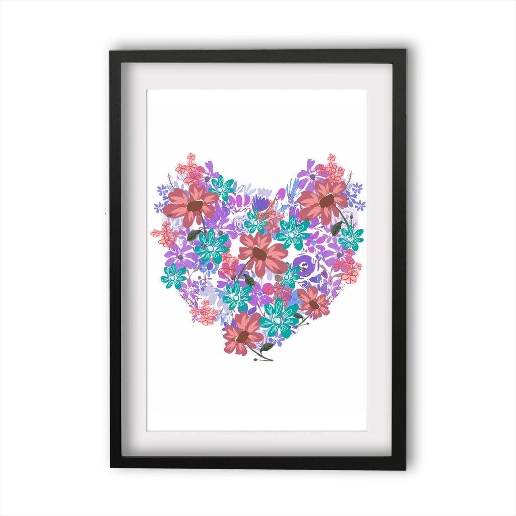 Print Heart Blooms purple and pink
