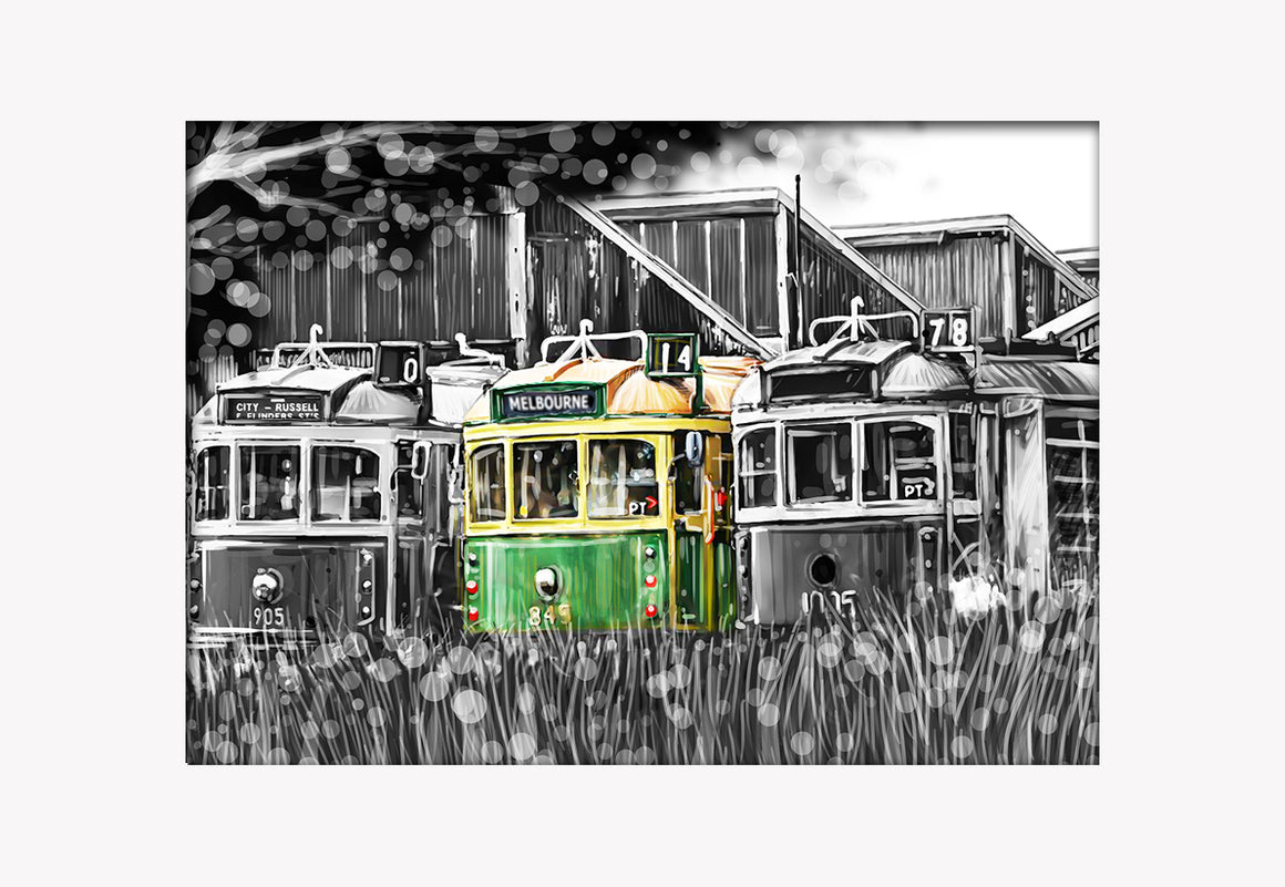 Print (Iconic) - Melbourne Trams at Depot