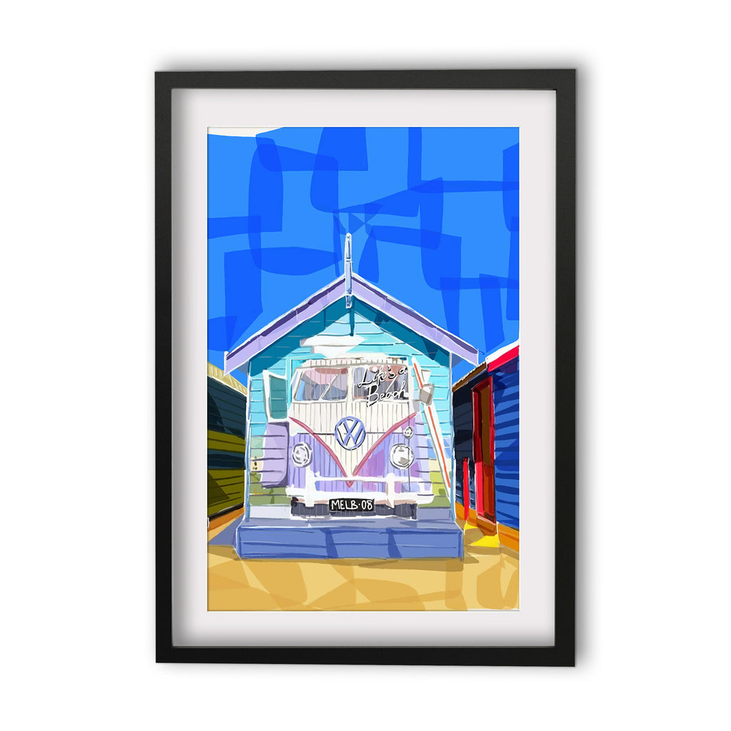 Print (Iconic) - Melbourne Beach Box with Kombi
