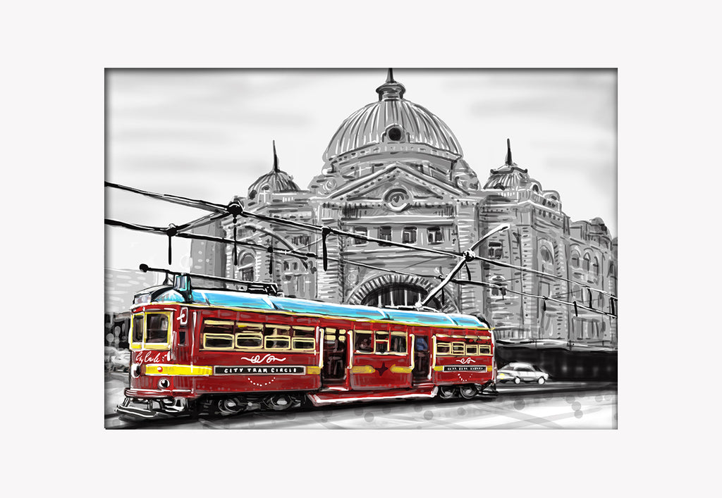 Print (Iconic) - Melbourne Flinders st Station with Red Tram