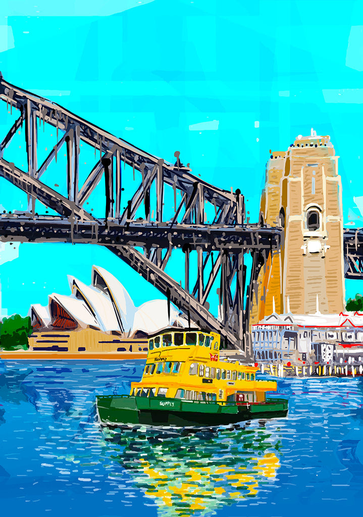 Print (Iconic) Sydney Harbour Bridge, Opera House and Ferrier