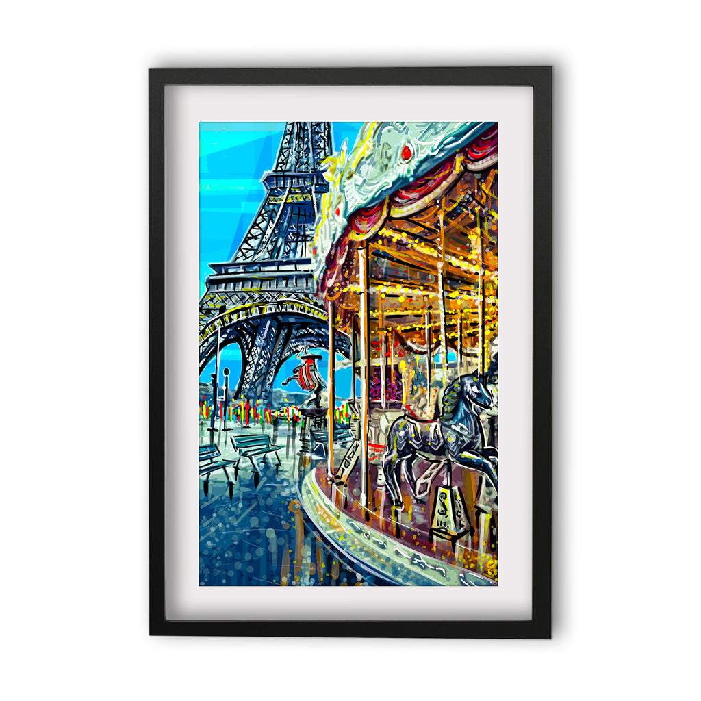 Print (Iconic) Wanderlust  Paris Eiffel Tower and Carousel