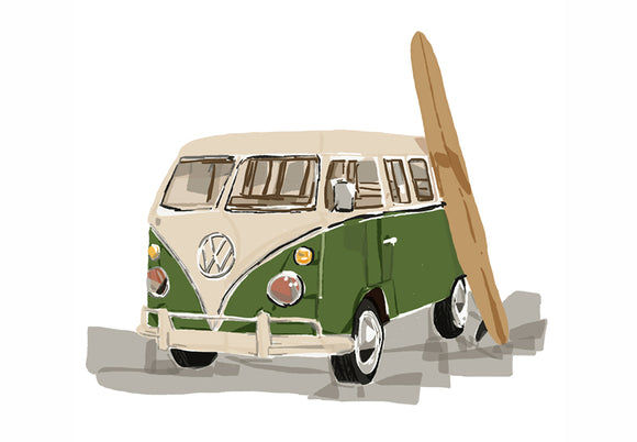 Print  - Kombi Green with Surf board (P)