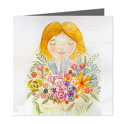 Card - Petite Pear - girl with flowers