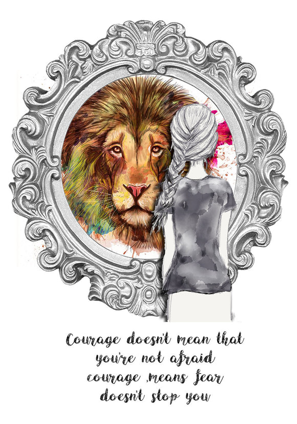 Print Quote - Courage Girl with Lion