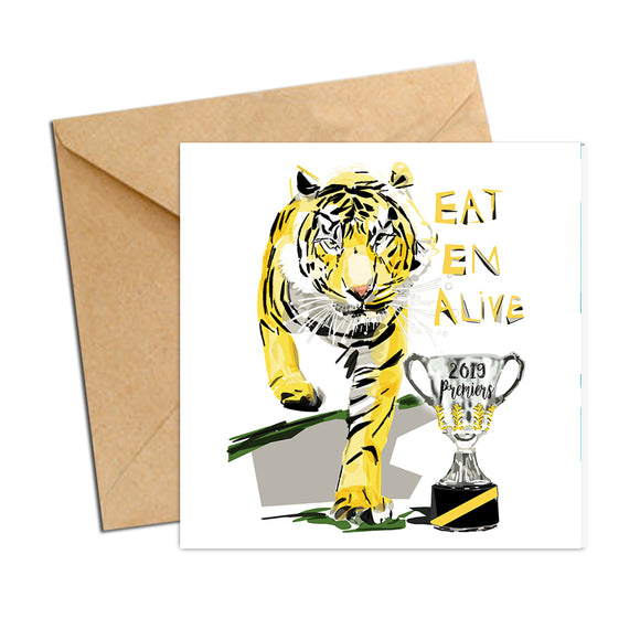 Card - AFL Tigers Premiers 2019 - Eat Em Alive