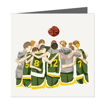 Card - Sports - Basketball Boys huddle Yellow and Green