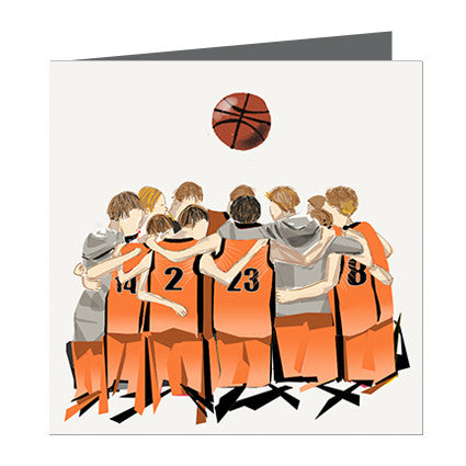 Card - Sports - Basketball Boys huddle Orange