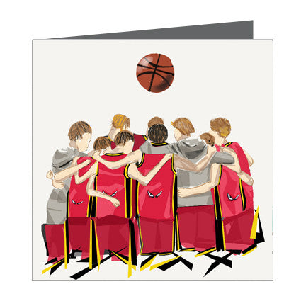 Card - Sports - Basketball Boys huddle Red and Black