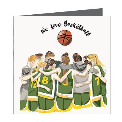 Card - Sports - Basketball Girls huddle Yellow and Green