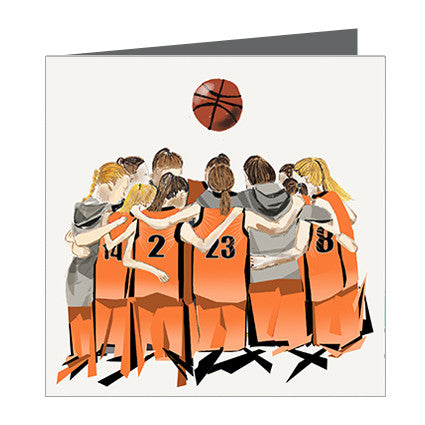 Card - Sports - Basketball Girls huddle Orange