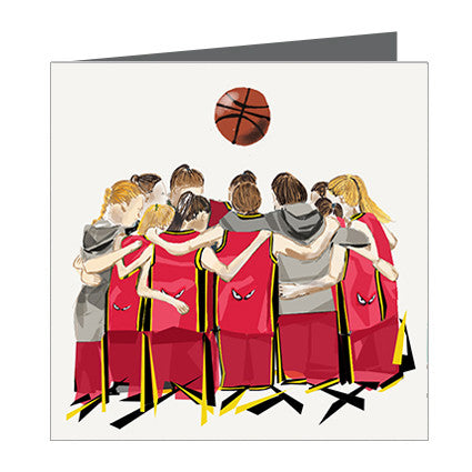 Card - Sports - Basketball Girls huddle Red and Black