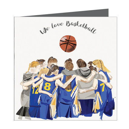 Card - Sports - Basketball Girls huddle Blue and Yellow