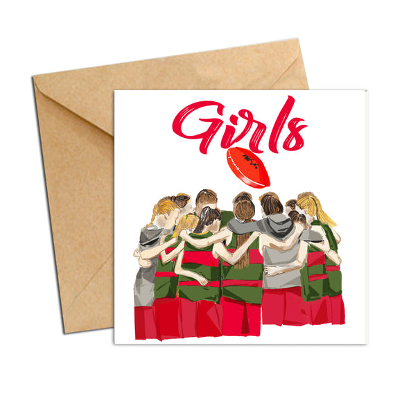 Card - AFL - football huddle Red and Green Girls