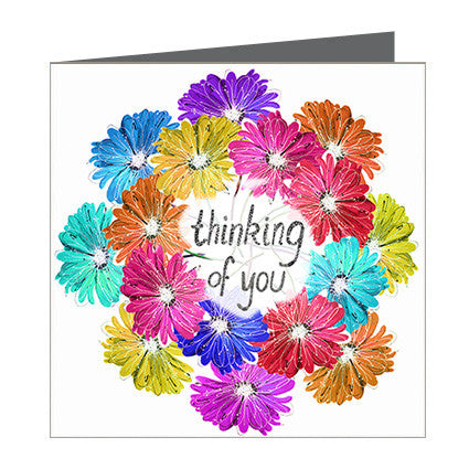 Card - Thinking of You - Ring of Coloured Gerbras