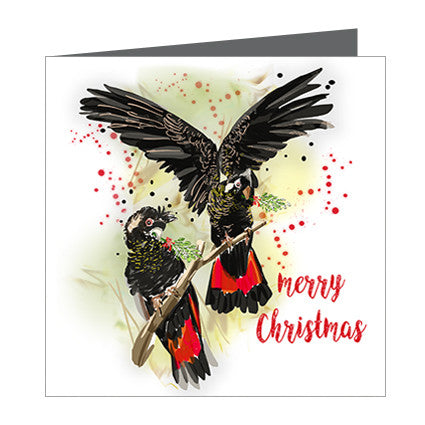 Card - Xmas Aus-Cockatoos Black