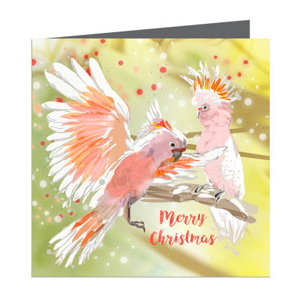 Card - Xmas Aus-Cockatoo Pink