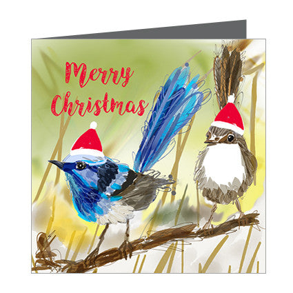 Card - Xmas Aus -Blue Wren