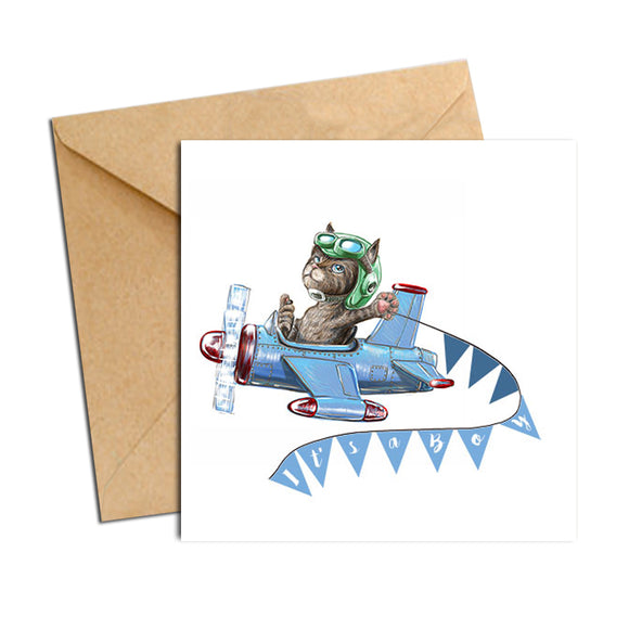 Card - Baby Boy Cat in Plane