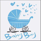 Small Cards (Pack of 10) - Baby Boy Pram Blue