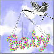 Small Cards (Pack of 10) - Baby and Crane